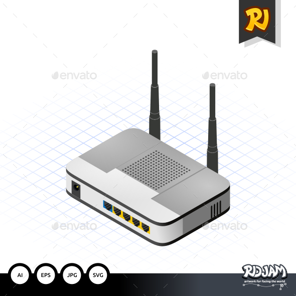 GraphicRiver Isometric Wireless Router 10536398