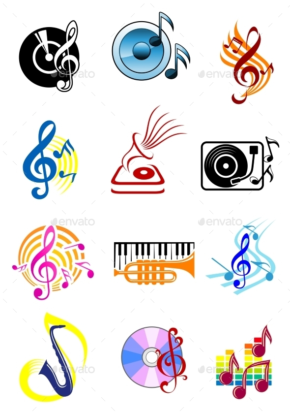 GraphicRiver Colorful Musical Icons Set 10536406