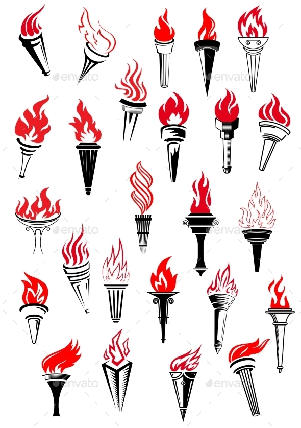 GraphicRiver Flaming Torches in Vintage Style 10536410
