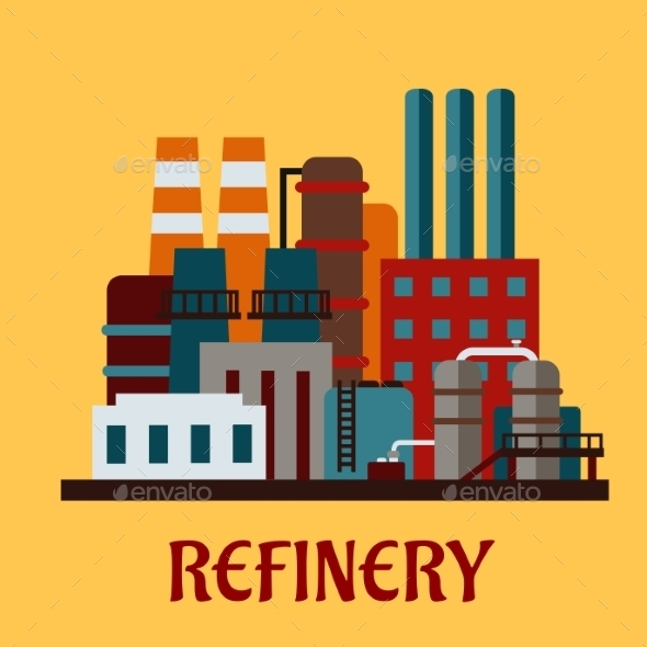 GraphicRiver Flat Industrial Refinery 10536413