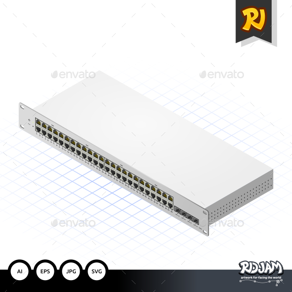GraphicRiver Isometric Switch with SFP Port 10536433