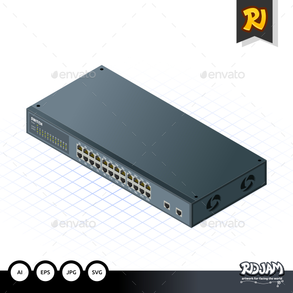 GraphicRiver Isometric Switch with Uplink Port 10536450