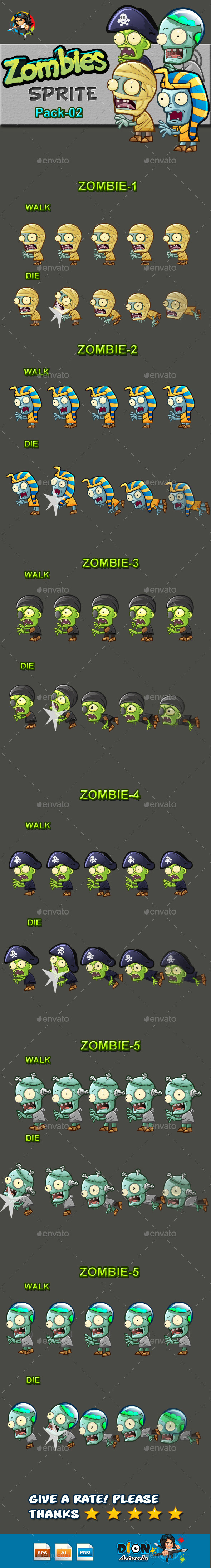 GraphicRiver Zombies Sprite Sheets Pack-02 10536773