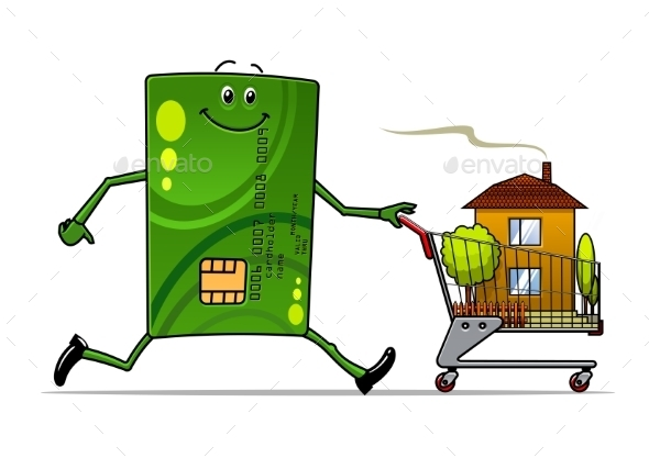 GraphicRiver Cartoon Credit Card Pushing a Cart with House 10536787