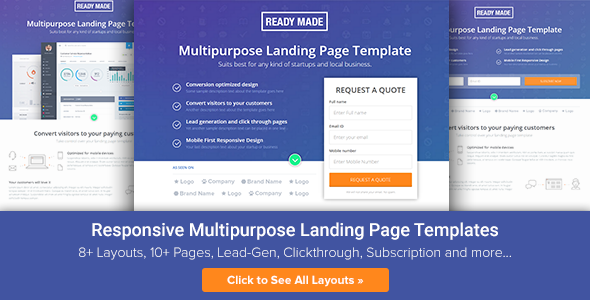 ThemeForest Multipurpose Landing Page Template ReadyMade 10477881