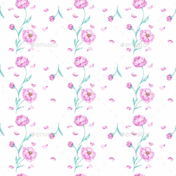 GraphicRiver White Pattern with Watercolor Peony 10537330
