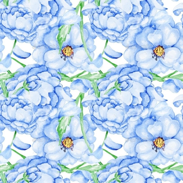 GraphicRiver Watercolor Blue Flower Pattern 10537339