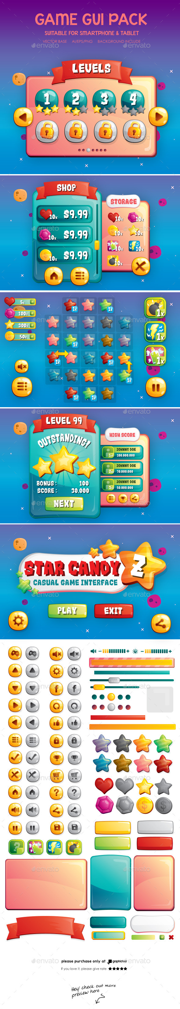 GraphicRiver Casual Game GUI 10537398