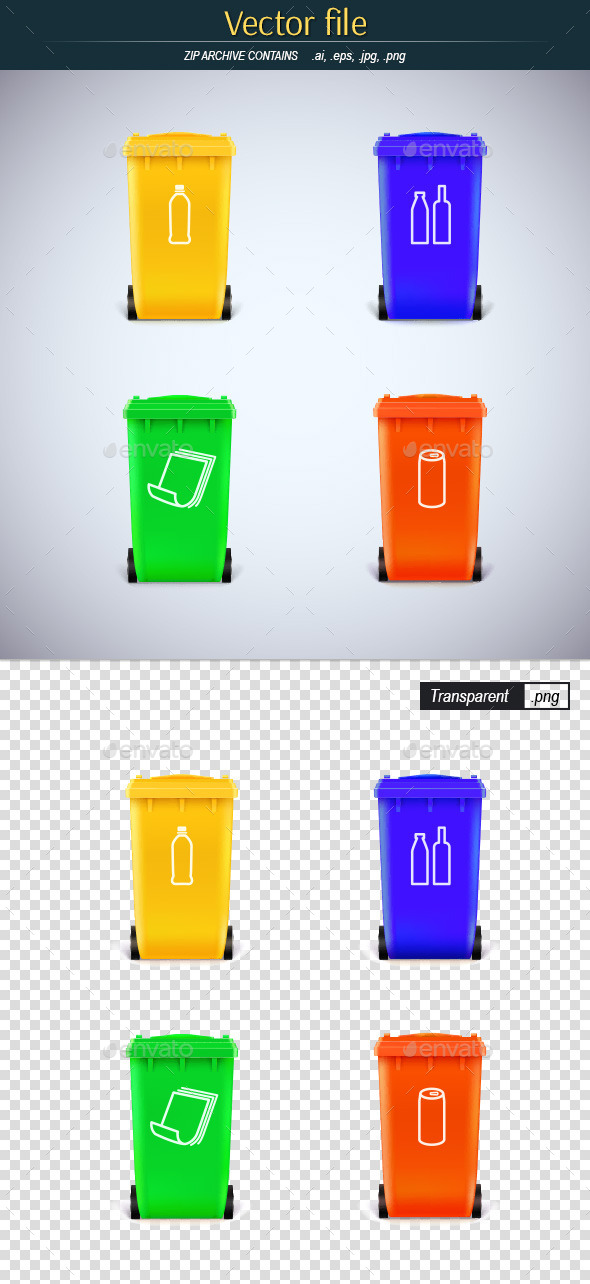 GraphicRiver Trash Cans with Symbols 10537401