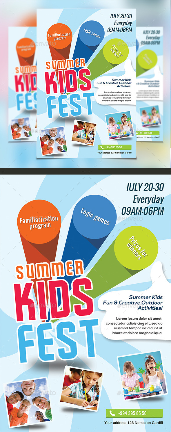 GraphicRiver Kids Summer Camp Flyers 10537450