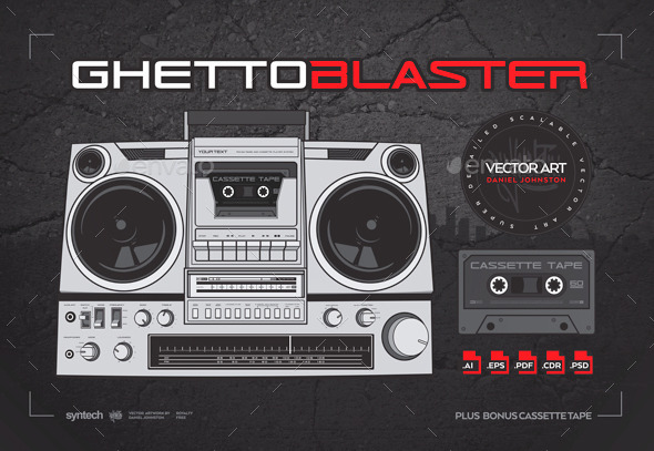 GraphicRiver Ghetto Blaster Boombox with Cassette Tape 10391217