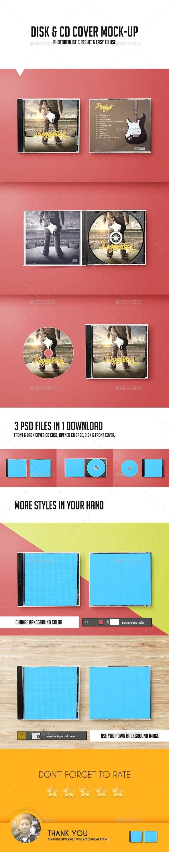 GraphicRiver Disk & CD Cover Mock-Up 10537592