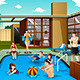 Family and Friends in Swimming Pool - GraphicRiver Item for Sale