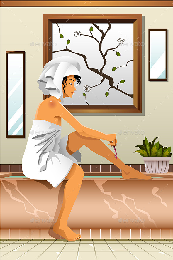 GraphicRiver Woman Shaving her Legs in the Bathroom 10537776