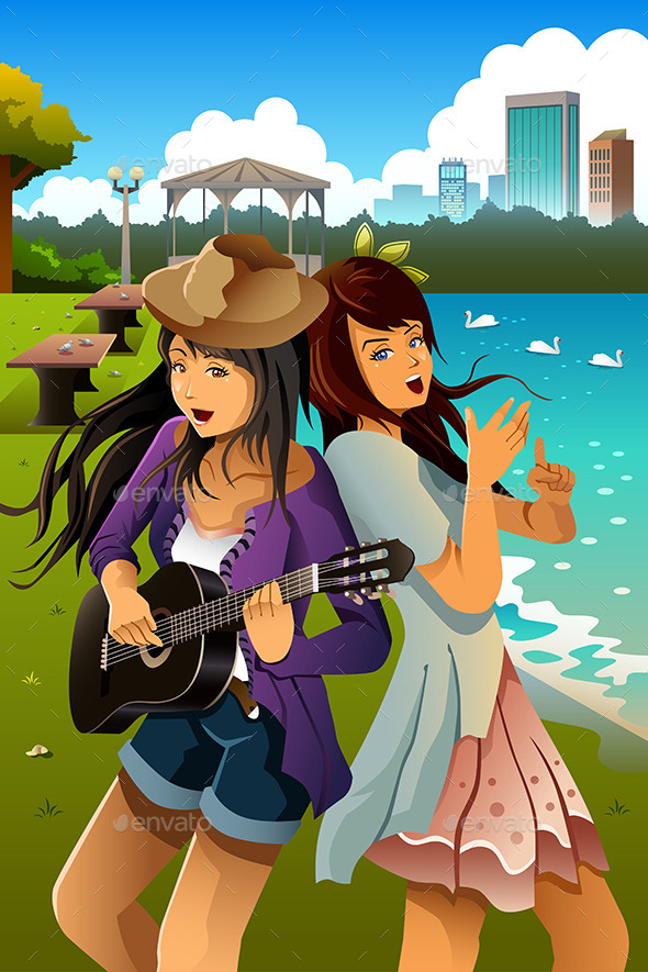GraphicRiver Teenage Girls Singing and Playing Guitar 10537792