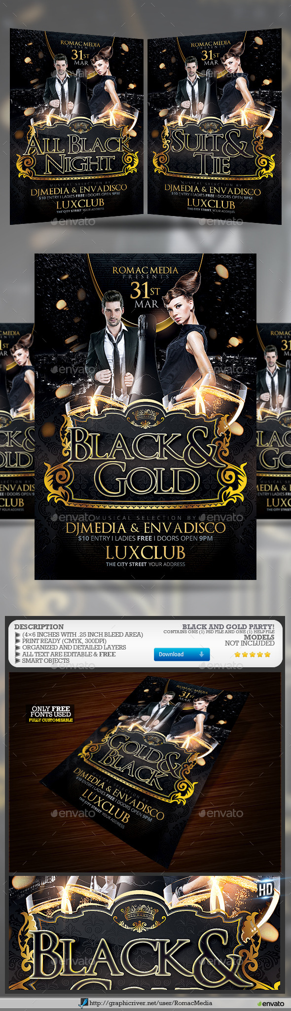 GraphicRiver Black and Gold Birthday Party 10538063