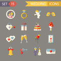 Flat Wedding Symbols Bride Groom Marriage Accessories Icons Set Trendy Modern Vector Illustration - PhotoDune Item for Sale
