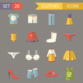 Retro Clothes Symbols Accessories Icons Set Trendy Modern Flat Design Template Vector Illustration - PhotoDune Item for Sale