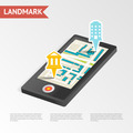 Real Estate Landmark Mobile Device Isometric Design Template Vector Illustration - PhotoDune Item for Sale