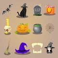 halloween accessories and characters icons set vector illustration - PhotoDune Item for Sale
