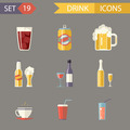 Retro Flat Alcohol Beer Juice Tea Wine Drink Icons and Symbols Set Vector Illustration - PhotoDune Item for Sale