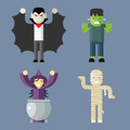 Halloween Characters Icons Set on Stylish Background Modern Flat Design Vector Illustration - PhotoDune Item for Sale