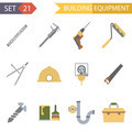 Retro Flat Building Equipment Icons and Construction Tools Symbols Set Vector Illustration - PhotoDune Item for Sale