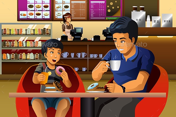 GraphicRiver Father and Son Eating Breakfast 10538397
