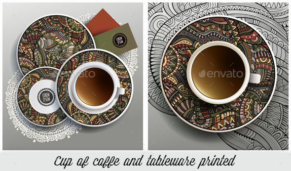 GraphicRiver Cup and Tableware Ethnic Printed Set 10538900