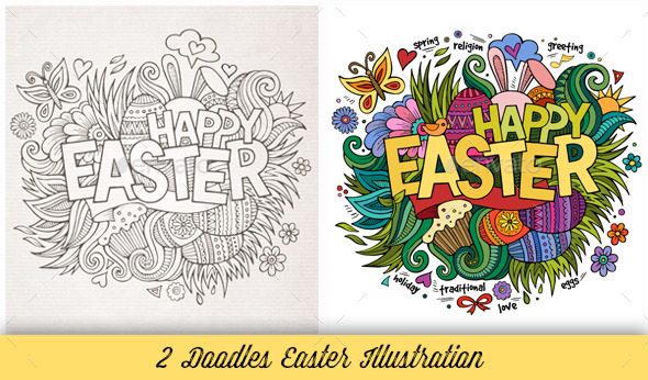 GraphicRiver Easter Doodles Illustration 10539458