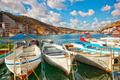 Boats in Balaklava Bay in the sunny summer day