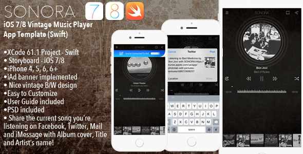 CodeCanyon SONORA iPhone Music Player App Template Swift 10539763