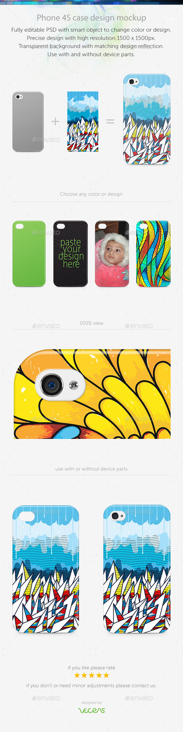 GraphicRiver Phone 4S Case Design Mockup 10540294