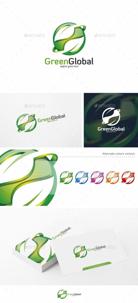 GraphicRiver Green Global Leaf Logo Template 10540499