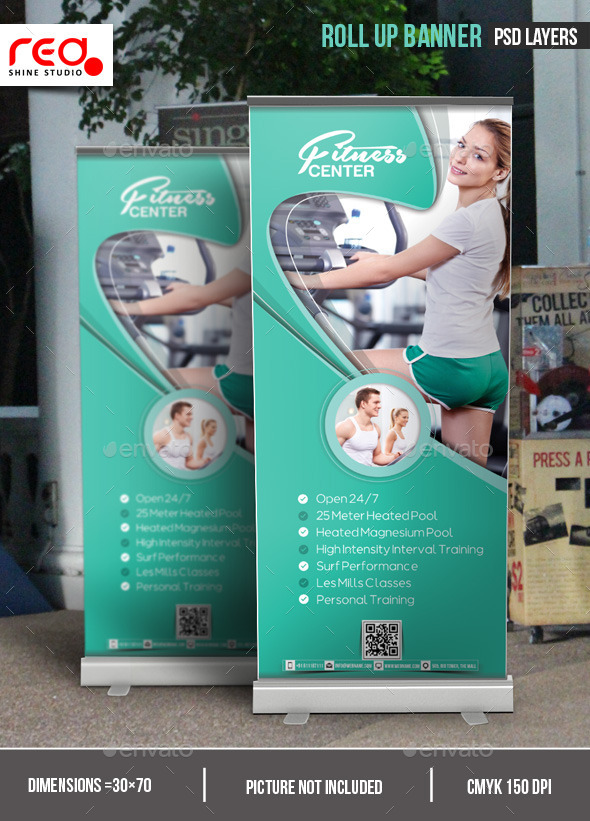GraphicRiver Fitness Center Promotion Roll-up Banner 10540567