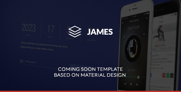 ThemeForest James Material Design Coming Soon Template 10540724