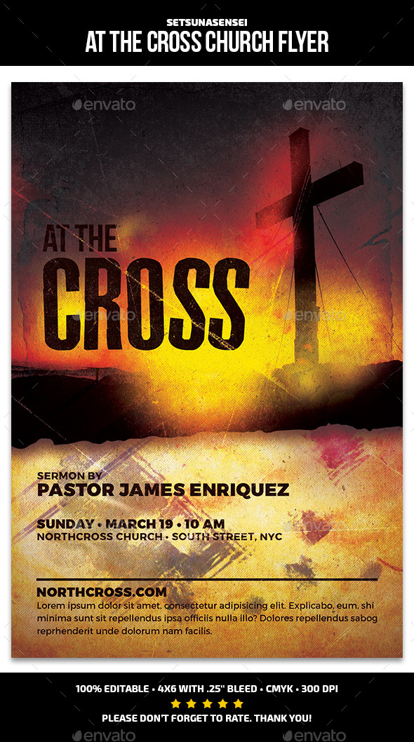 GraphicRiver At the Cross Church Flyer 10541560