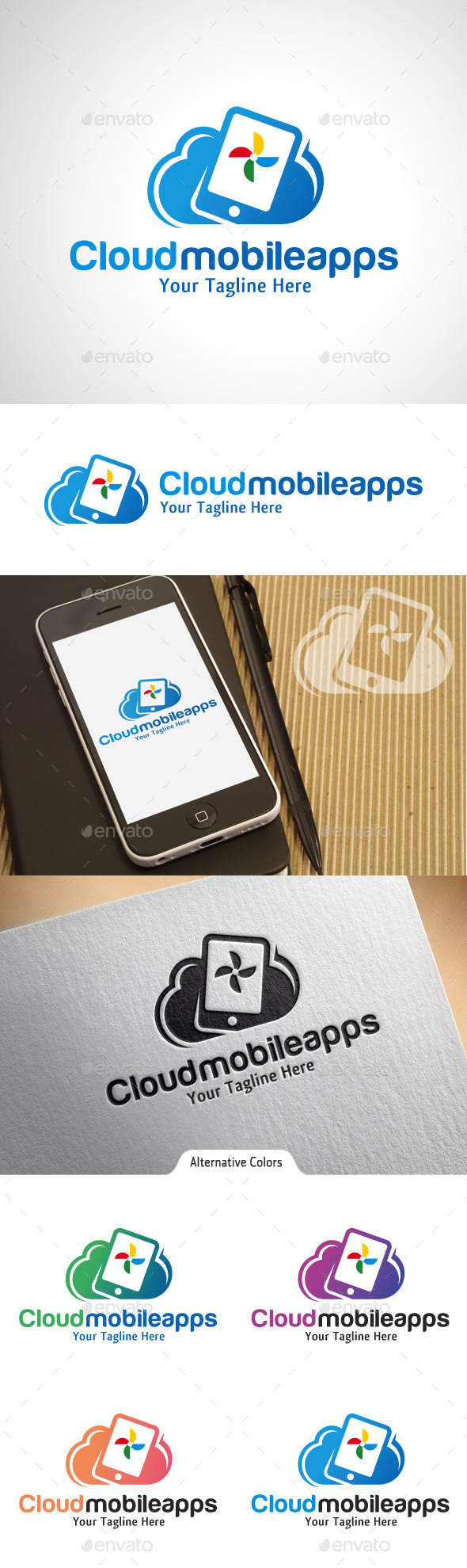 GraphicRiver Cloud Mobile Apps Logo 10541718