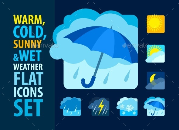 GraphicRiver Weather Icons Set Flat 10542406