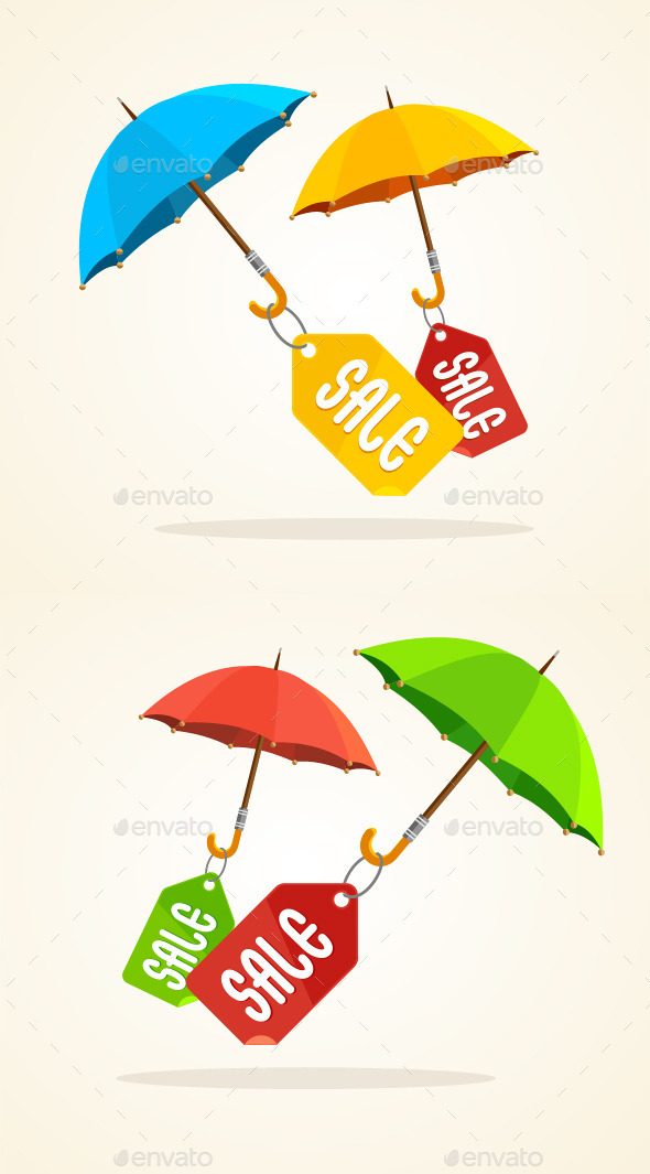GraphicRiver Vector Umbrellas with Sale Stickers 10542690