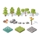Flat Elements of Nature. Trees, Bushes, Rocks - GraphicRiver Item for Sale