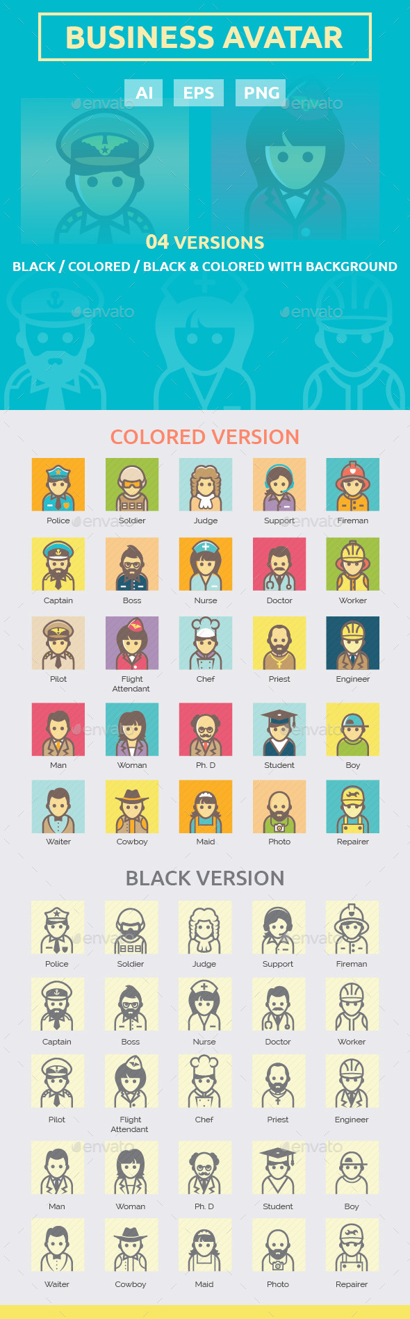 GraphicRiver Business Avatar Icon Set 10543112