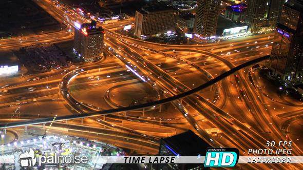 Roundabout Night Thousand Cars