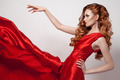 Young beautiful woman in red dress. - PhotoDune Item for Sale