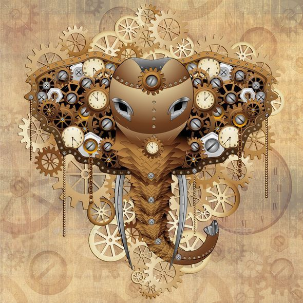 GraphicRiver Steampunk Elephant Portrait 10403058