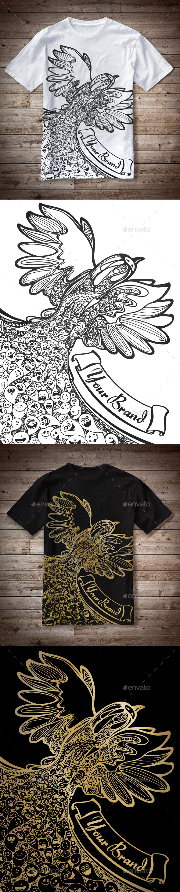 GraphicRiver T-Shirt Illustration Bird Doodles 10543436