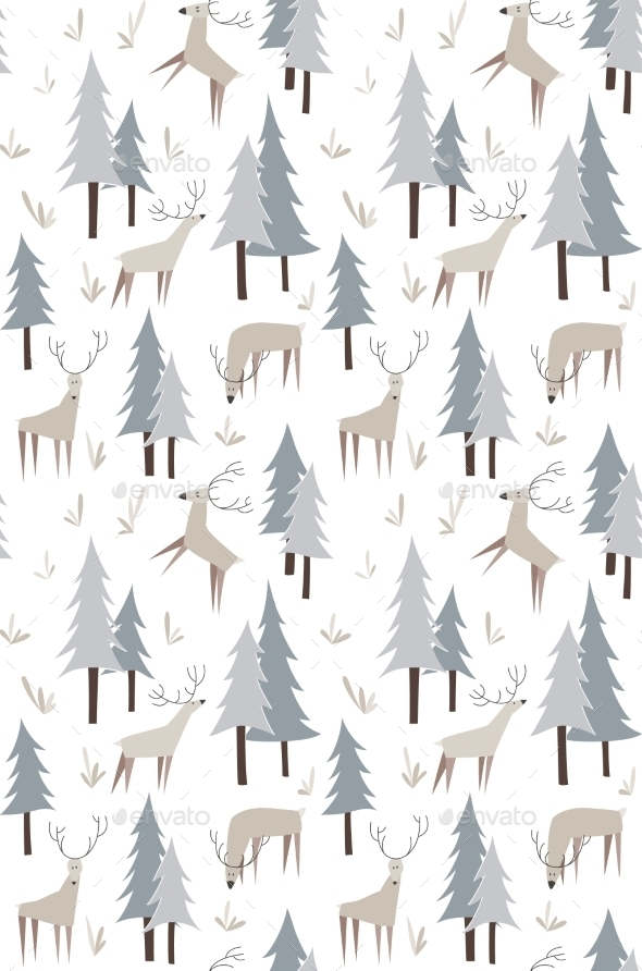 GraphicRiver Deer and Trees Pattern 10544073