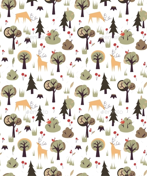 GraphicRiver Forest Animals Pattern 10544075