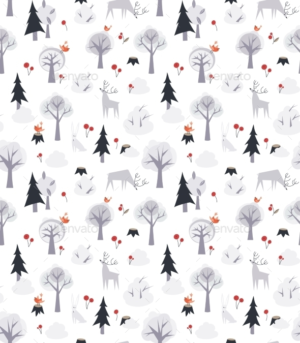 GraphicRiver Deer and Trees Pattern 10544077