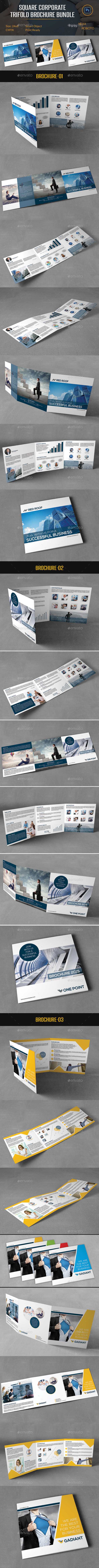 GraphicRiver Square Corporate Trifold Brochure Bundle 10544210